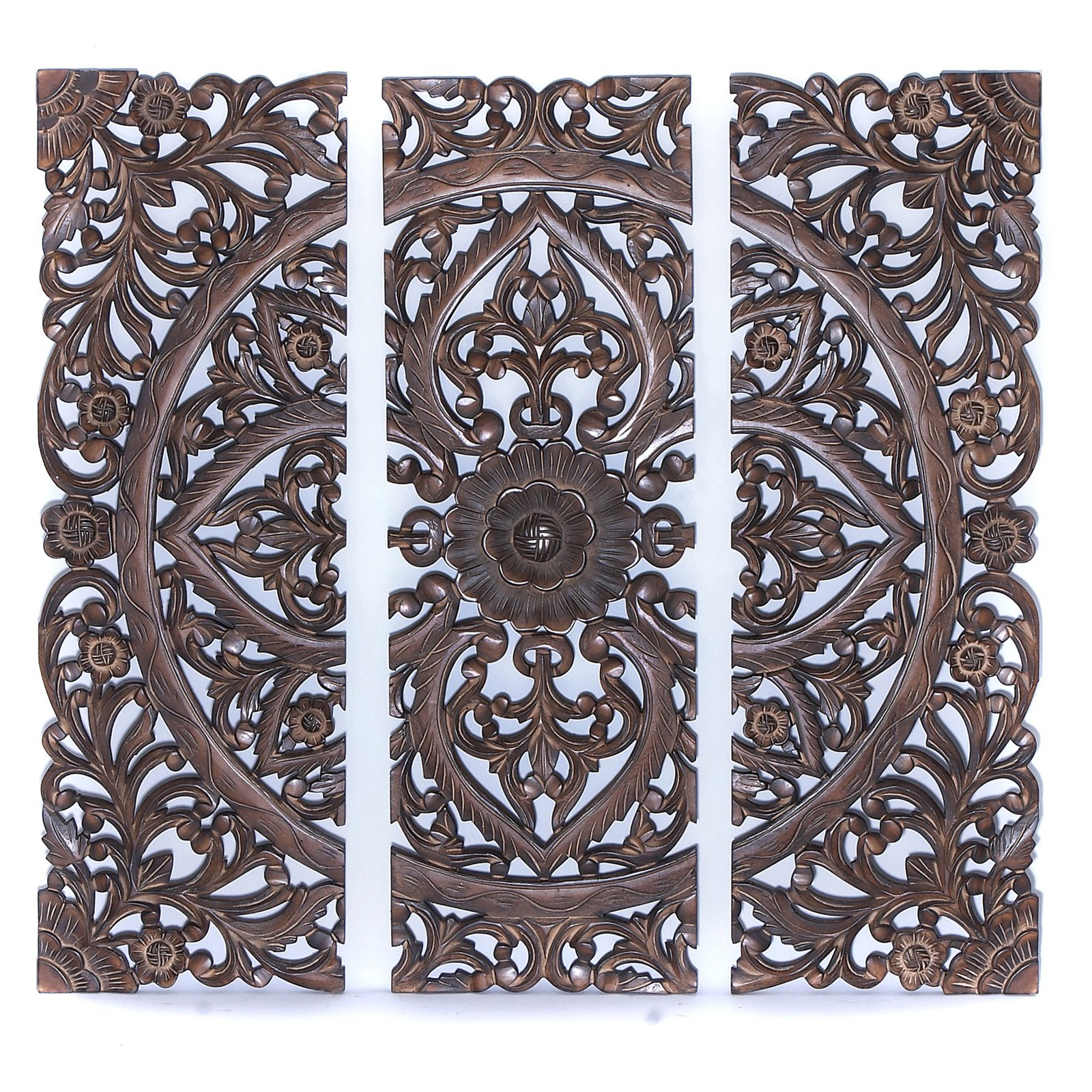 "Benzara 14404 36""h Modern Wood Wall Panel With Dark Finish (Set Of 3 Within Recent Panel Wood Wall Decor Sets (Set Of 2) (View 1 of 20)"