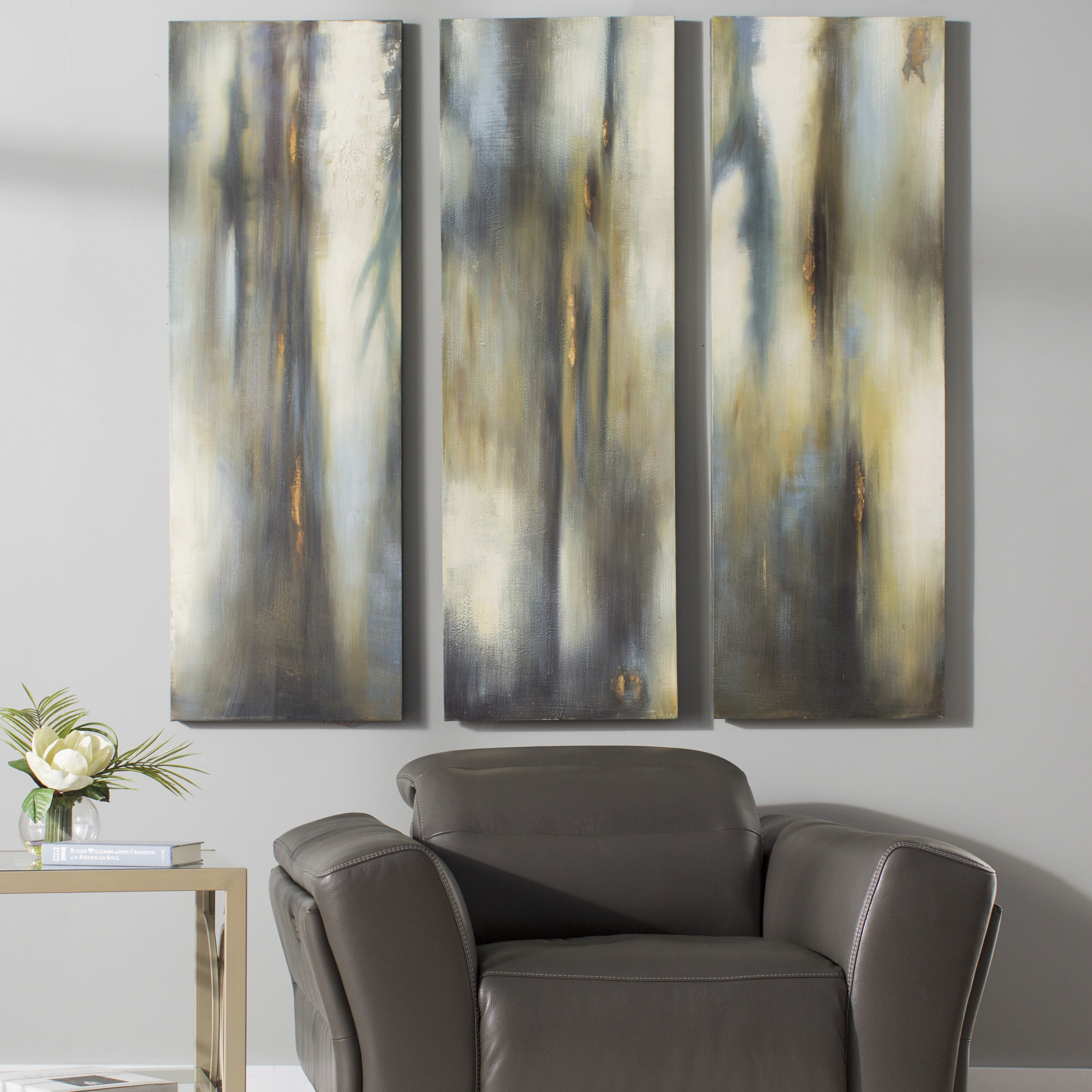 Best And Newest Brayden Studio 'moonglow Modern' 3 Piece Painting On Canvas Set For 3 Piece Wall Decor Sets By Wrought Studio (View 8 of 20)