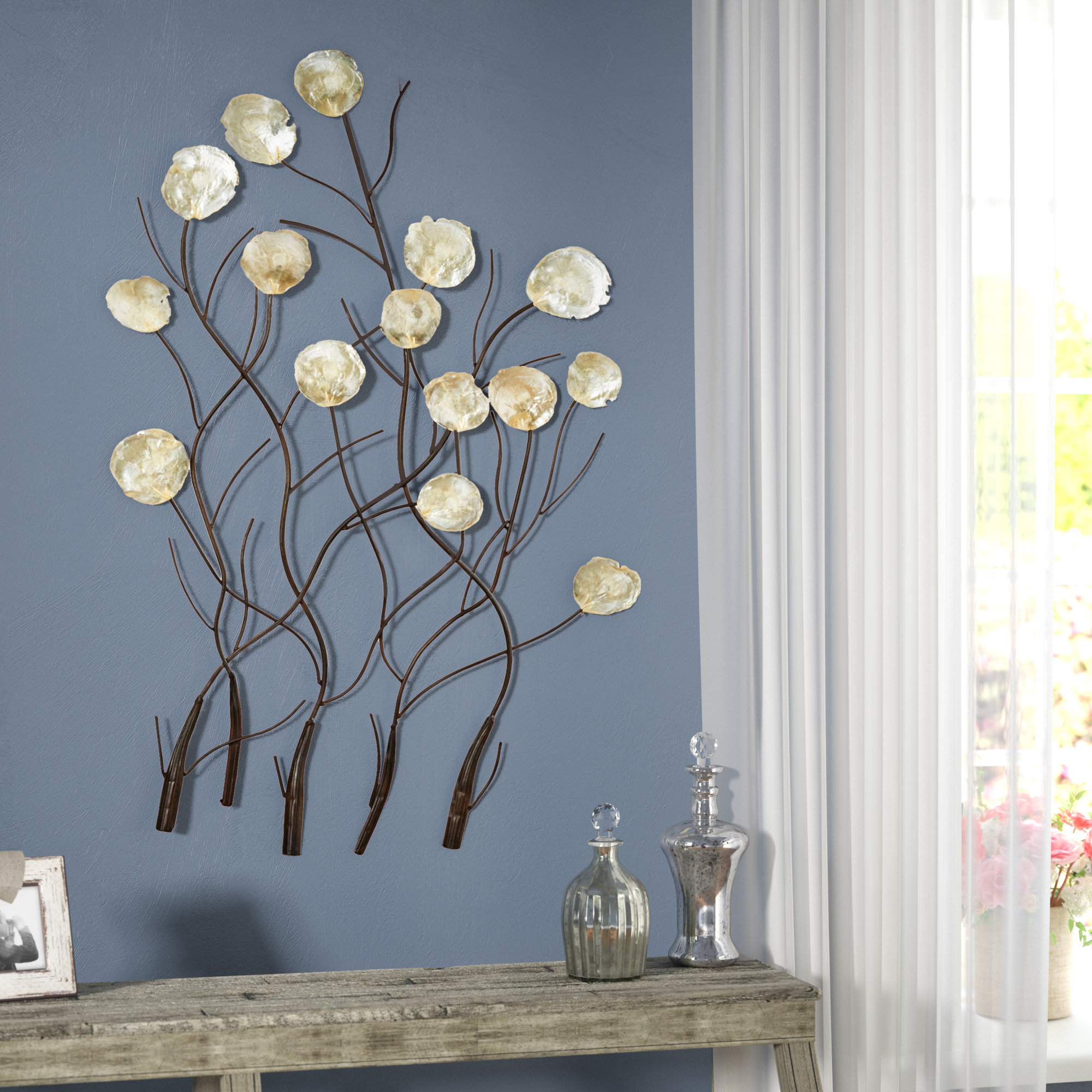 Best And Newest Contemporary Iron Leaves Wall Decor By Winston Porter With Regard To One Allium Way Maria Metal Capiz Wall Décor & Reviews (View 11 of 20)