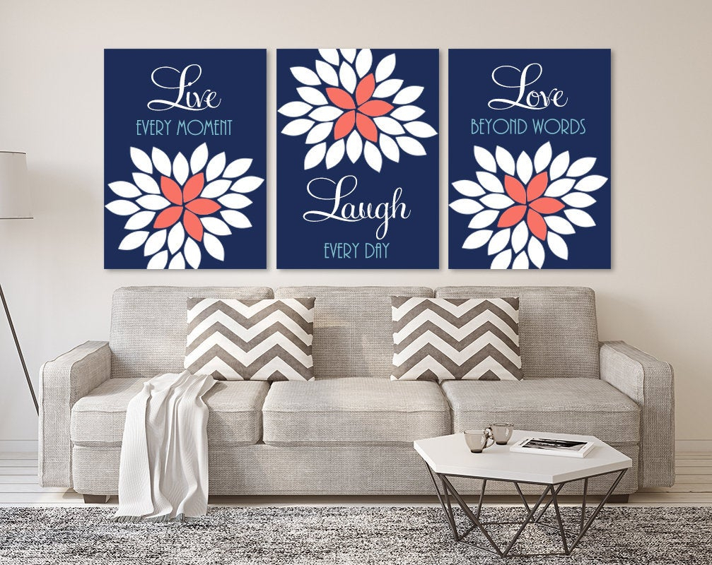 Best And Newest Live Love Laugh 3 Piece Black Wall Decor Sets Pertaining To Live Laugh Love Wall Art Navy Coral Aqua Bedroom Quote Wall (View 13 of 20)
