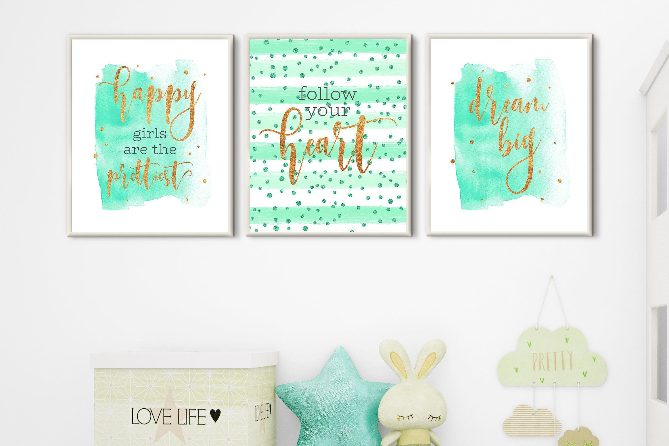 Best And Newest Room Decor Teen Girls Nursery Wall Art Set 3 Prints Mint Gold (Gallery 16 of 20)