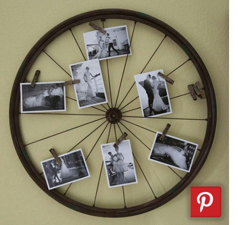 Bicycle Decor, Diy Recycle, Bicycle Wheel Inside Best And Newest Millanocket Metal Wheel Photo Holder Wall Decor (Gallery 6 of 20)