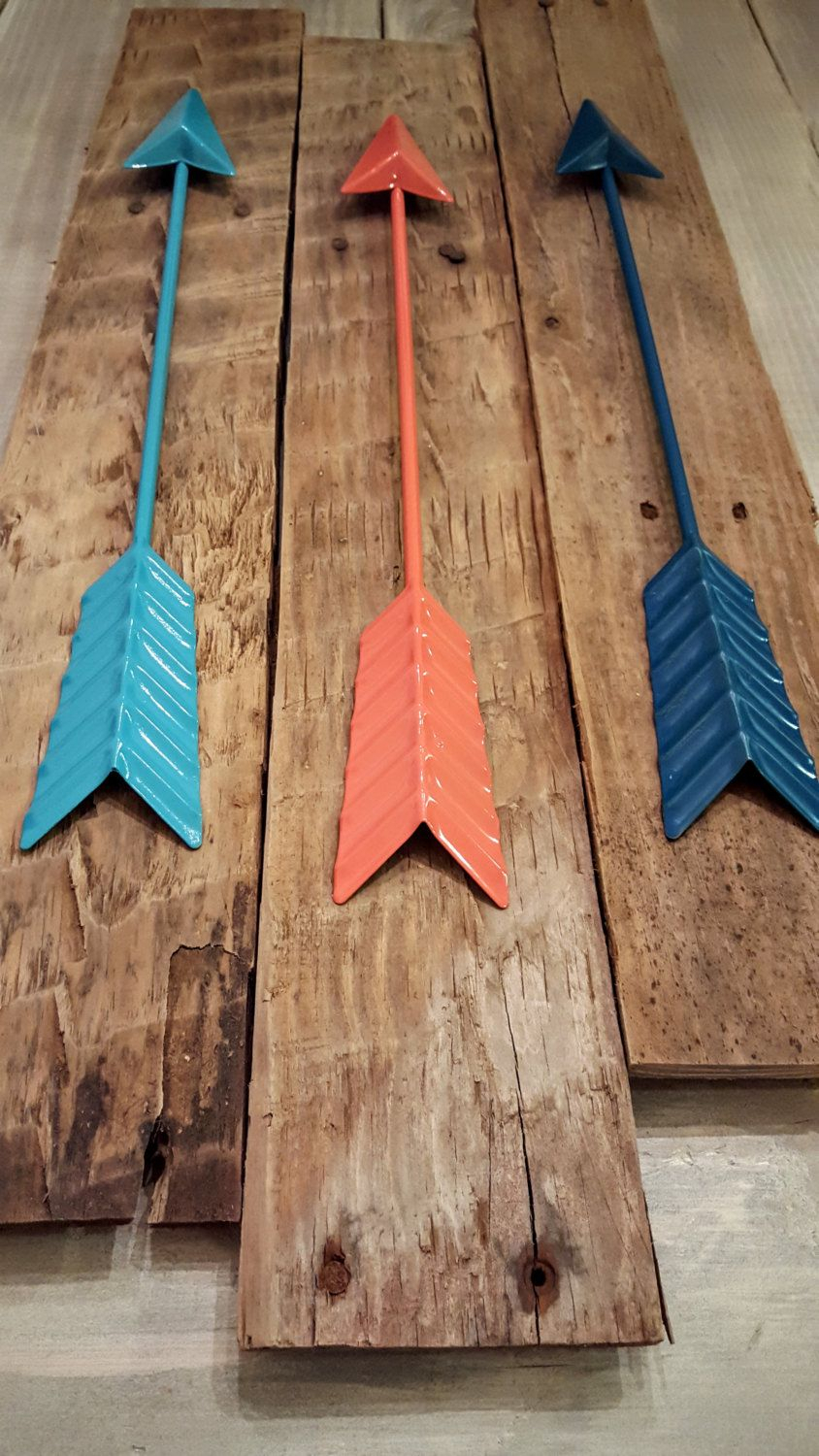 Brown Metal Tribal Arrow Wall Decor Inside Preferred Metal Arrow Wall Decor / 3 Metal Arrows / Reclaimed Wood Wall Art (View 13 of 20)