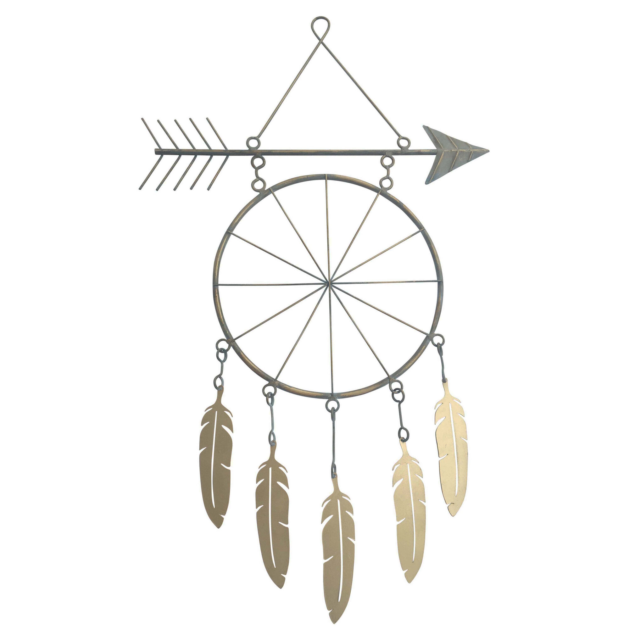 Brown Metal Tribal Arrow Wall Decor Regarding 2020 Metal Arrow And Feather Wall Décor & Reviews (View 15 of 20)