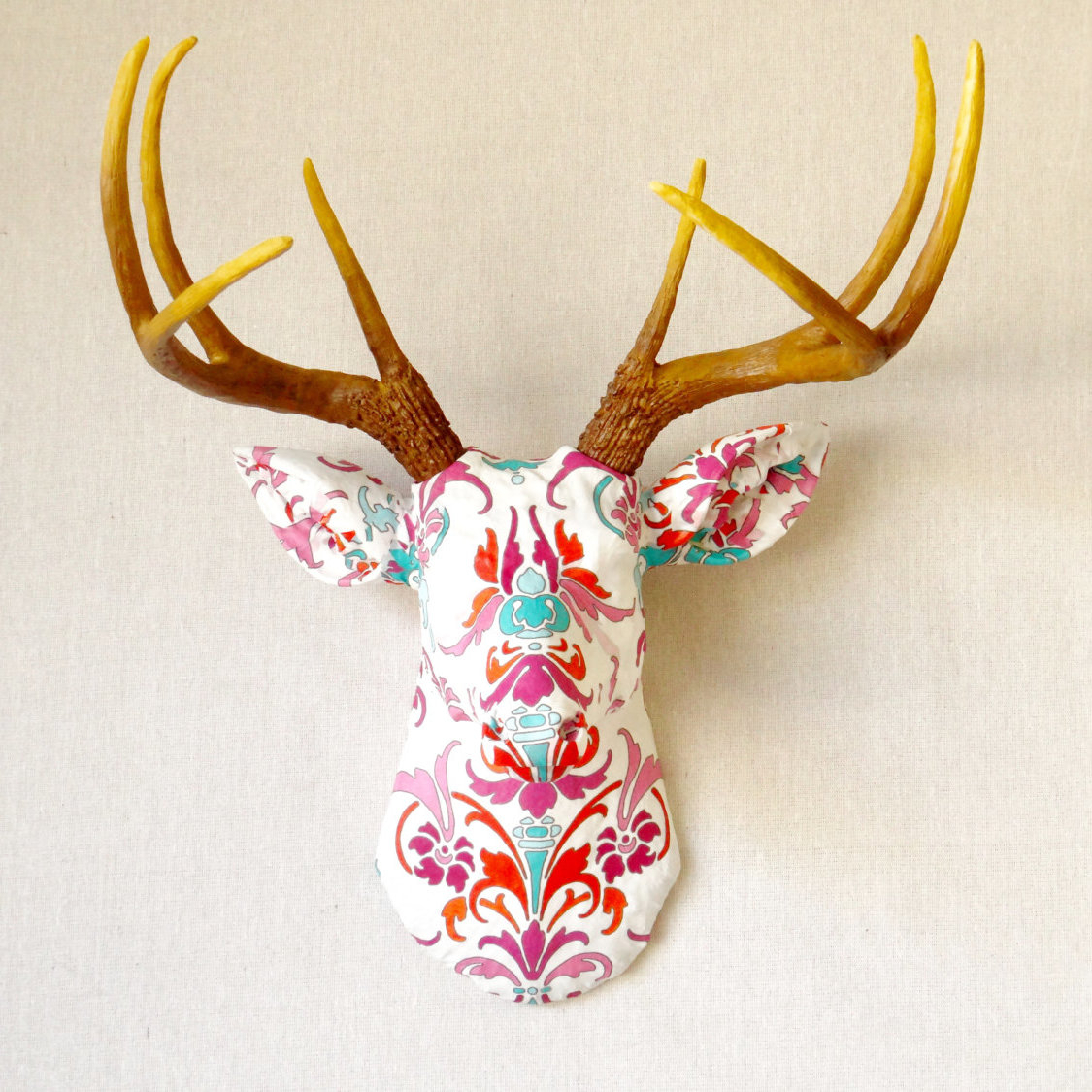 Bungalow Rose Faux Taxidermy Authentic Fabric Deer Head Wall Décor Pertaining To Popular Atlantis Faux Taxidermy Wall Decor (Gallery 12 of 20)