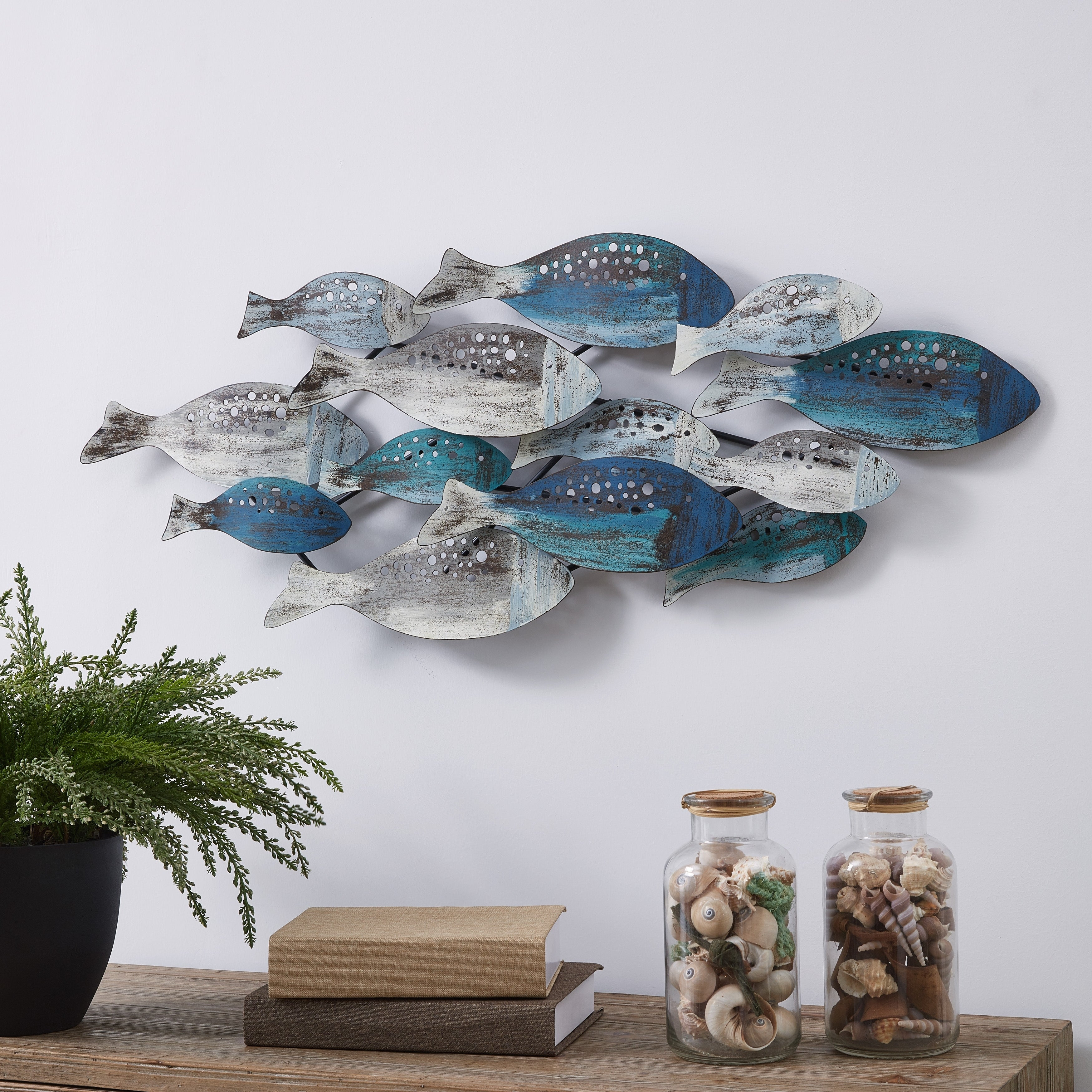Ceramic Blue Fish Plate Wall Decor With Fashionable Shop Danya B. School Of Fish Modern Metal Wall Art – Perfect For (Gallery 18 of 20)