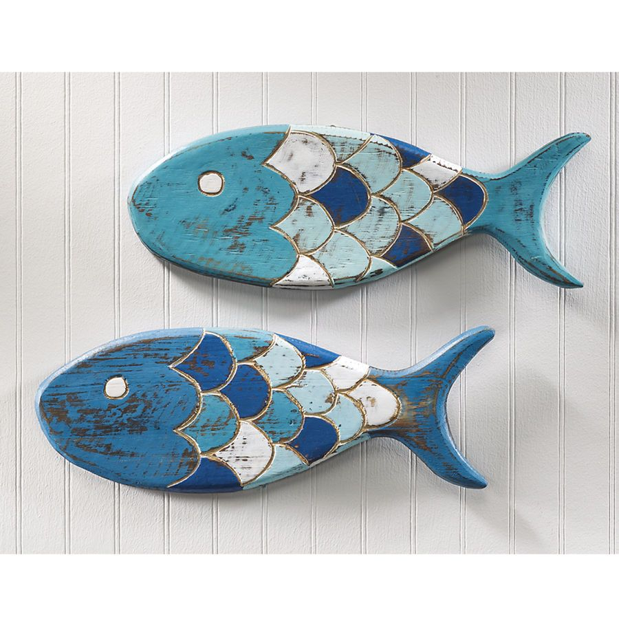 Ceramic Blue Fish Plate Wall Decor With Regard To Most Popular Wooden Fish Plaques … (View 11 of 20)