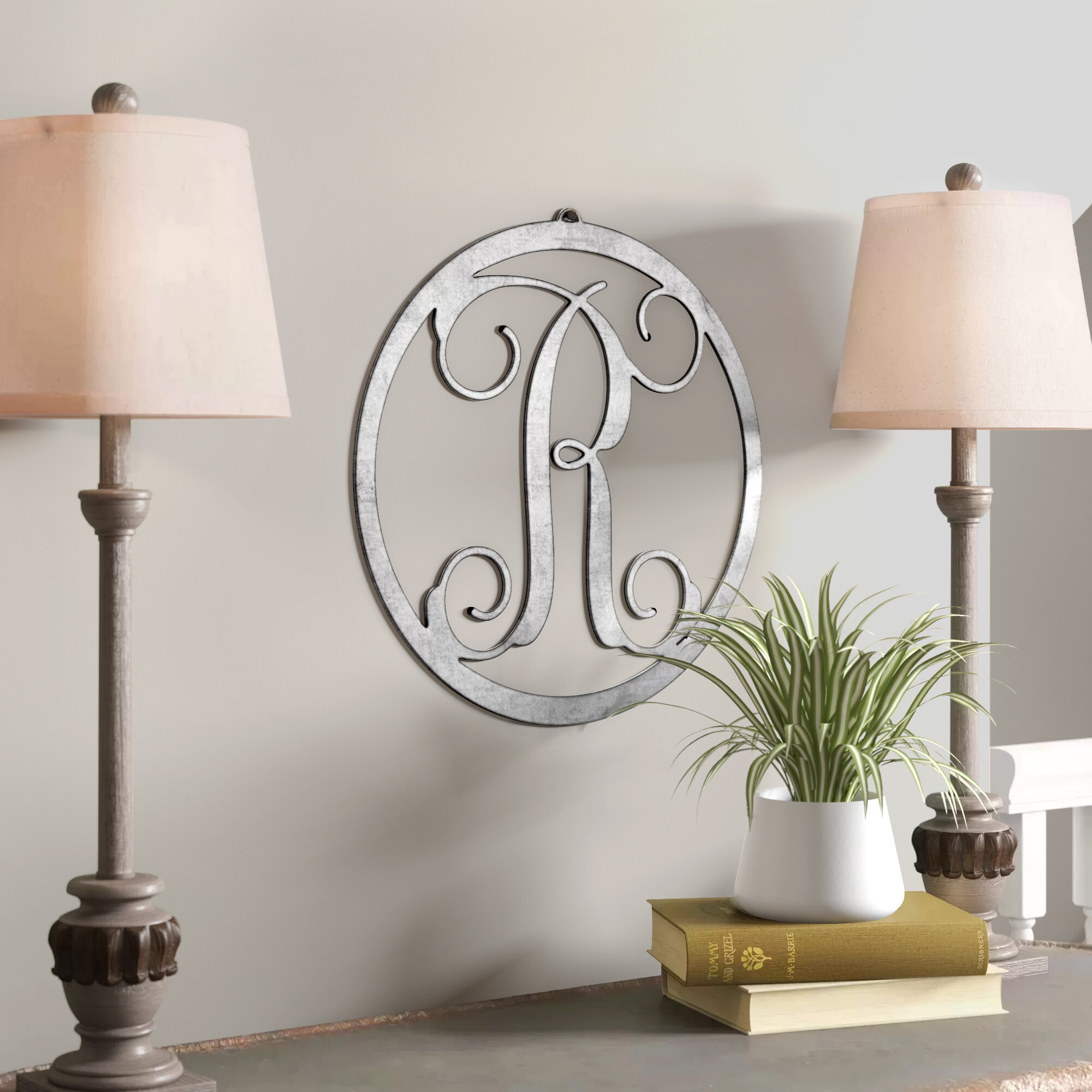 Charlton Home Metal Single Letter Circle Monogram Wall Decor For 2020 Metal Wall Decor By Charlton Home (View 12 of 20)
