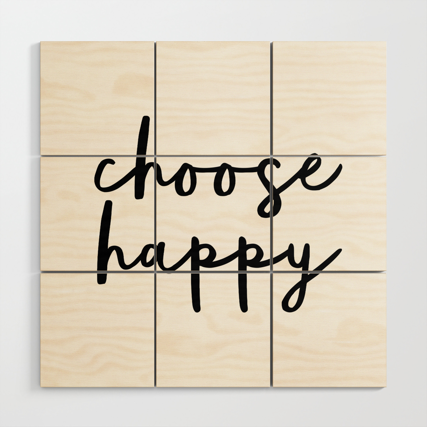 Choose Happy Black And White Contemporary Minimalism Typography Throughout Well Known Choose Happy Wood Wall Decor (Gallery 6 of 20)