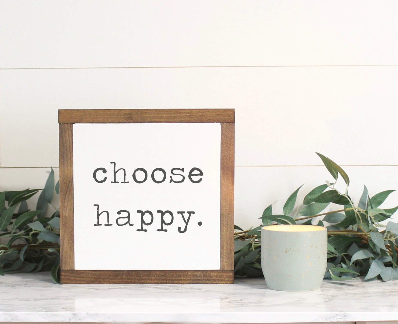 Choose Happy Wood Sign Farmhouse Sign Rustic Home Decor (Gallery 1 of 20)