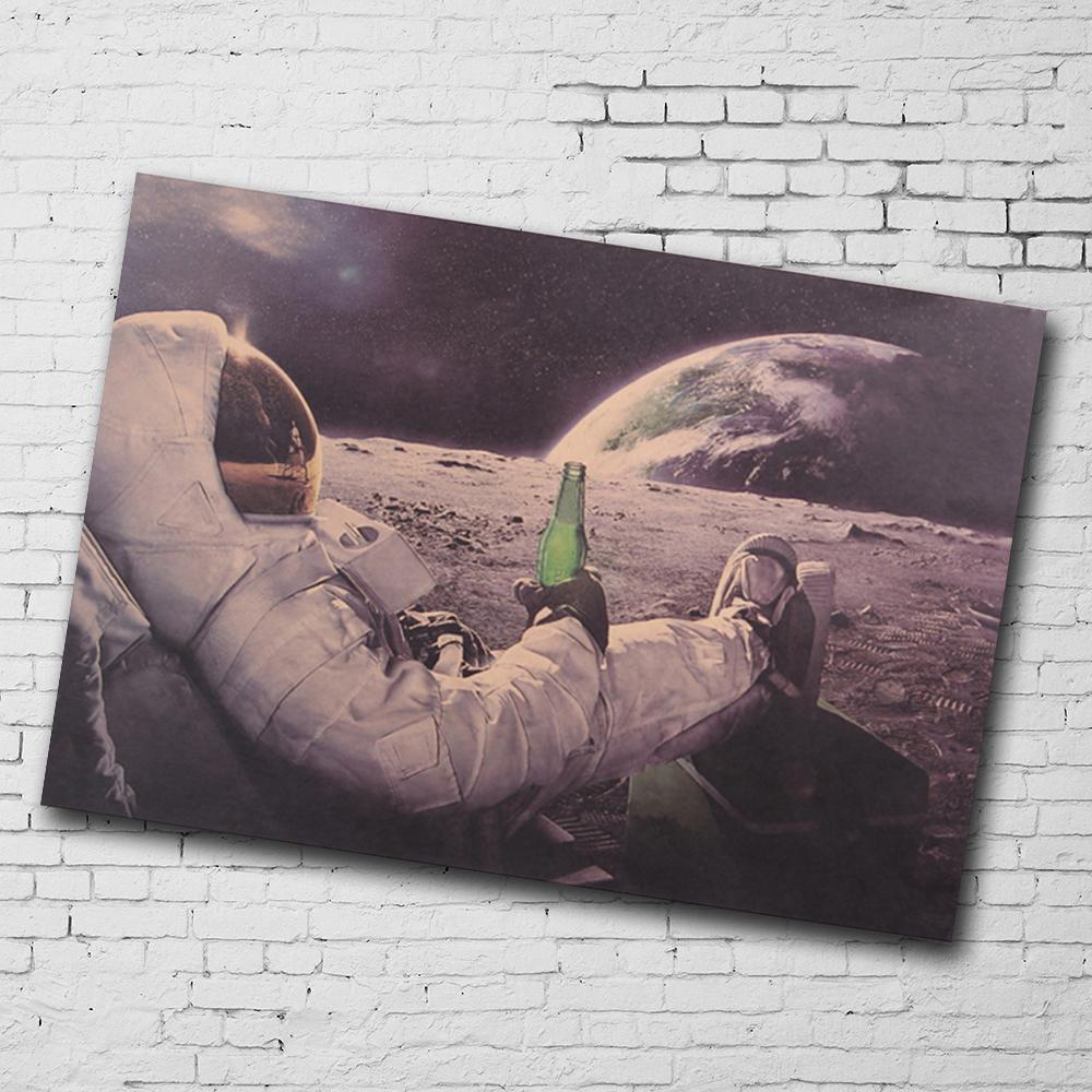 Classic Outer Space Earth Astronaut Moon Landing Drink Beer Fun With Regard To Recent Landing Art Wall Decor (Gallery 8 of 20)