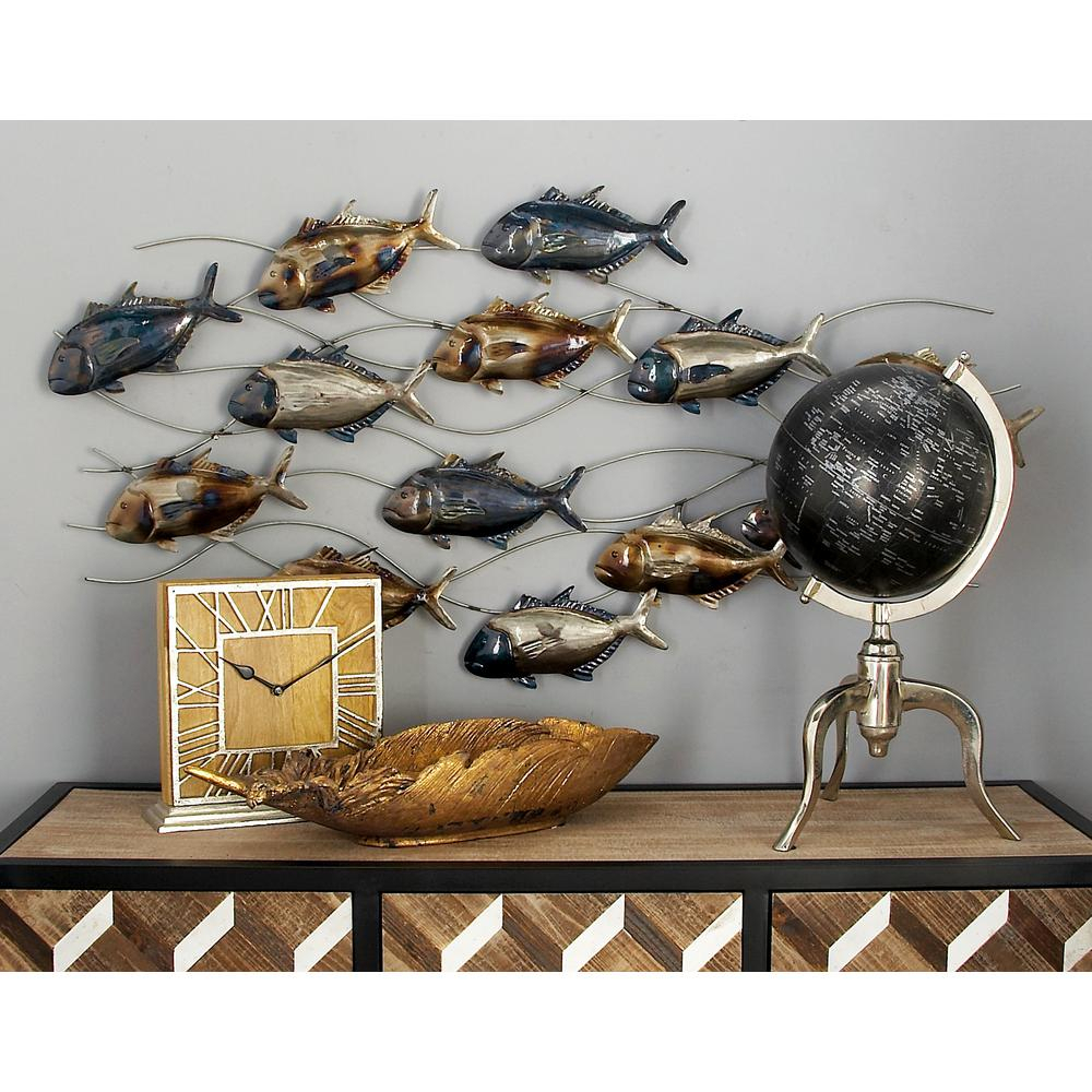 Coastal Metal Fish Wall Decor In Most Recently Released Litton Lane Iron Blue, Brown And Silver Tuna Fish Wall Decor (View 20 of 20)