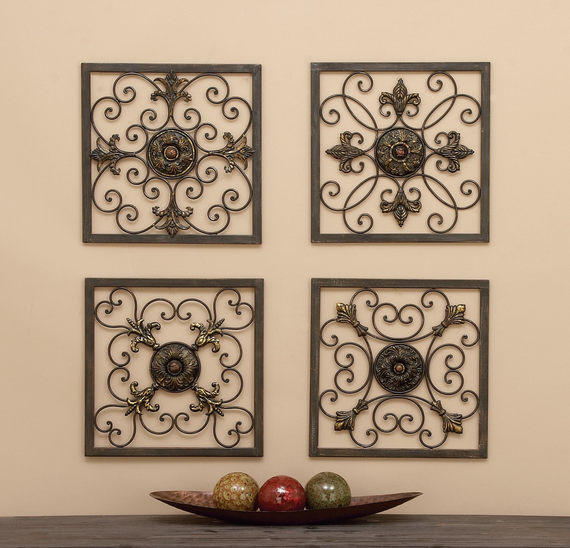 Cole & Grey 4 Piece Metal Wall Plaque Décor Set & Reviews (View 6 of 20)