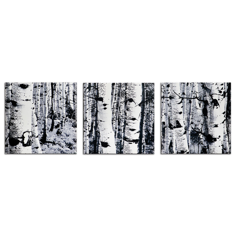 Contemporary Forest Metal Wall Decor For Well Known Black & White Tree Art Aspen Trees Artwork Modern Minimalist Winter (View 10 of 20)
