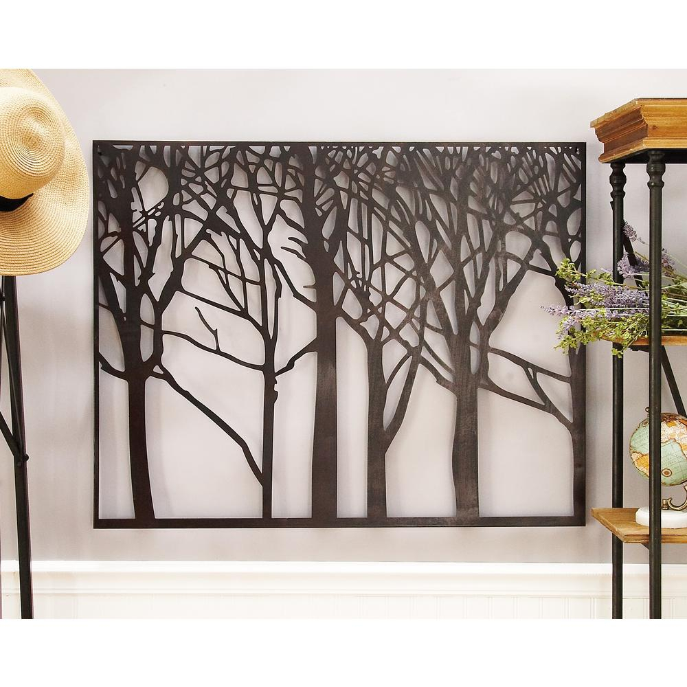Contemporary Iron Leaves Wall Decor By Winston Porter Inside Most Up To Date Litton Lane Modern Black Iron Tree And Branch Silhouette Wall Decor (View 10 of 20)