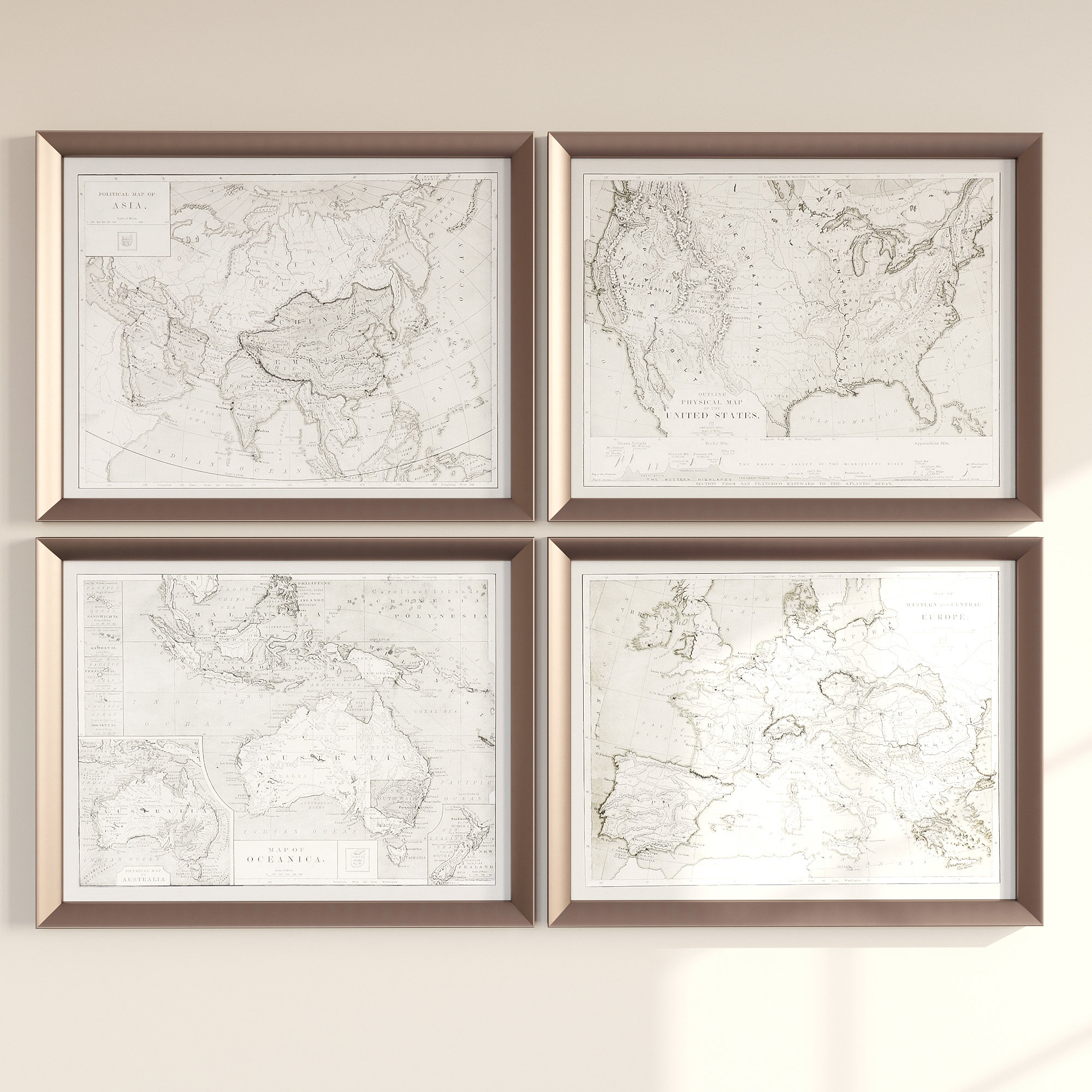 Current 4 Piece Wall Decor Sets By Charlton Home With Three Posts 'world Maps' 4 Piece Framed Graphic Art Set & Reviews (View 4 of 20)