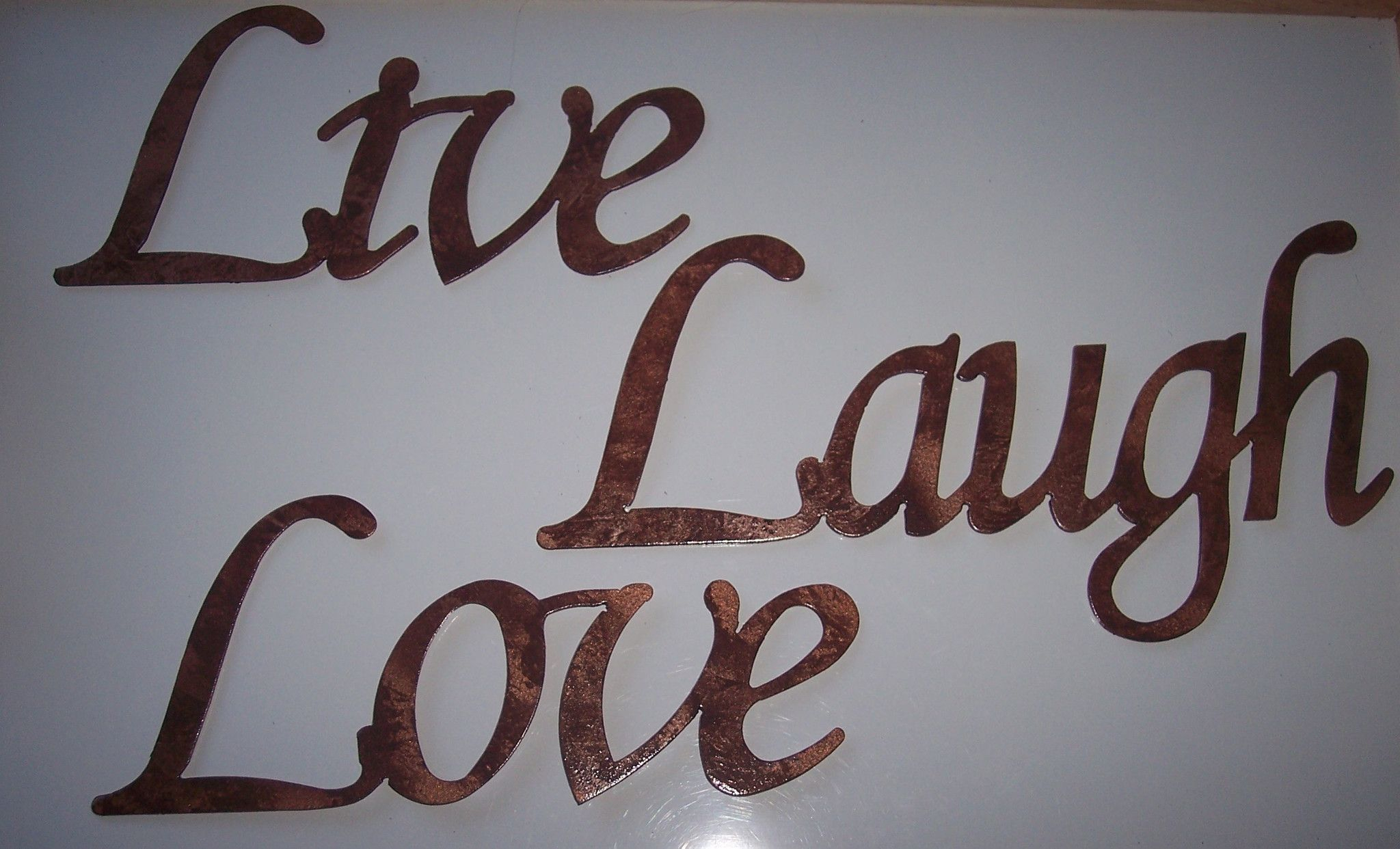 Current Live Laugh Love Words Simple Font Home Decor Metal Wall Art (View 14 of 20)