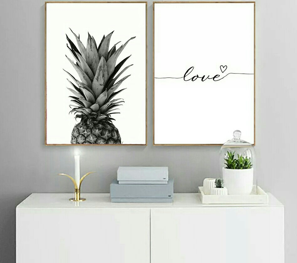 Current Pineapple Wall Decor Inside Pineapple Wall Art Canvas Post/ Love Quote Painting, Furniture, Home (View 4 of 20)