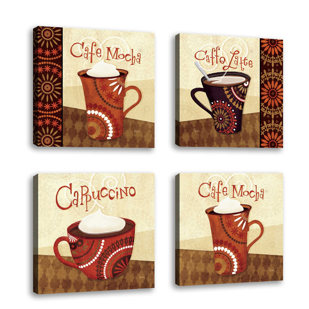 Current Set Of 4 – Cup Of Joe Iii – Contemporary Fine Art Giclee On Canvas With Cup Of Joe Wall Decor (View 6 of 20)