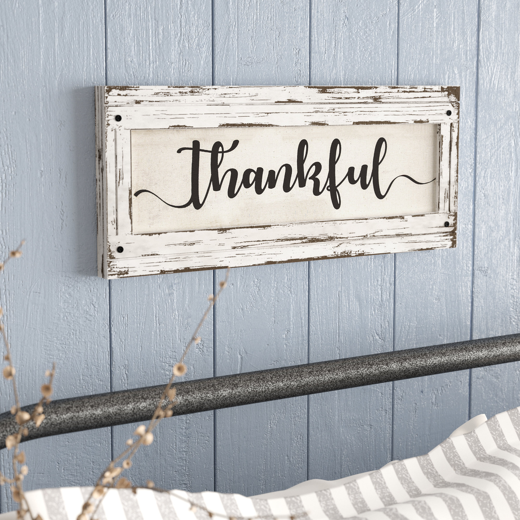 Current Thankful' Wood Framed Inspirational Canvas Sign Farmhouse Wall Décor Inside Fawcett Thankful Heart Wall Decor (View 5 of 20)