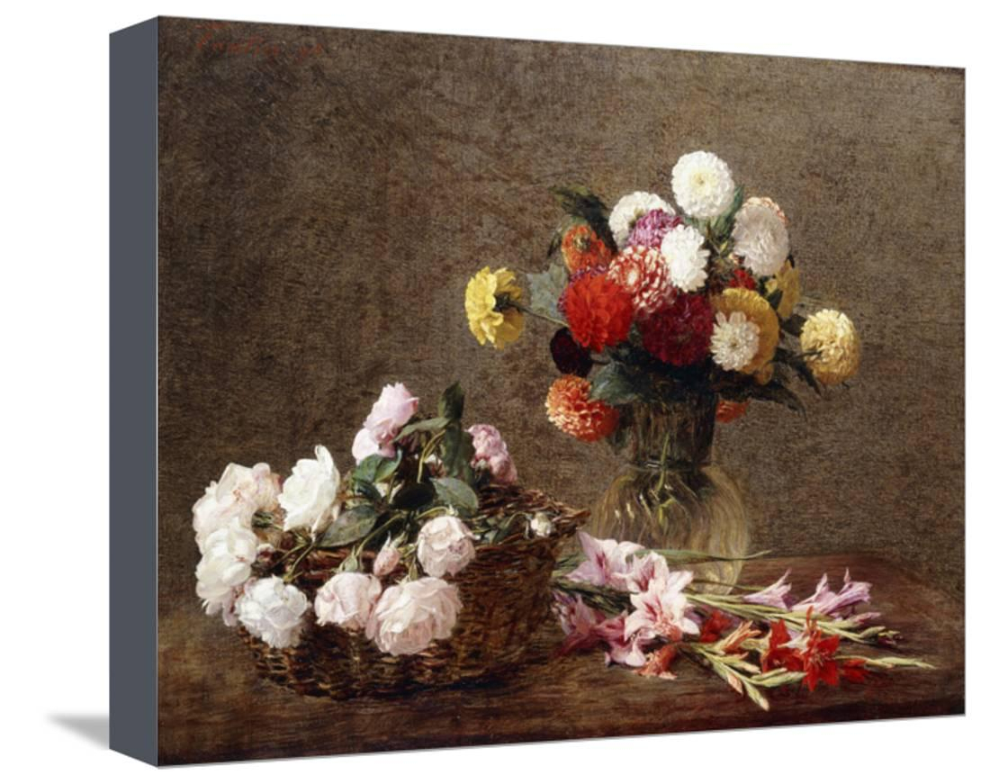 Dahlias, 1896 Stretched Canvas Print Wall Arthenri Fantin-Latour within Trendy Latour Wall Decor