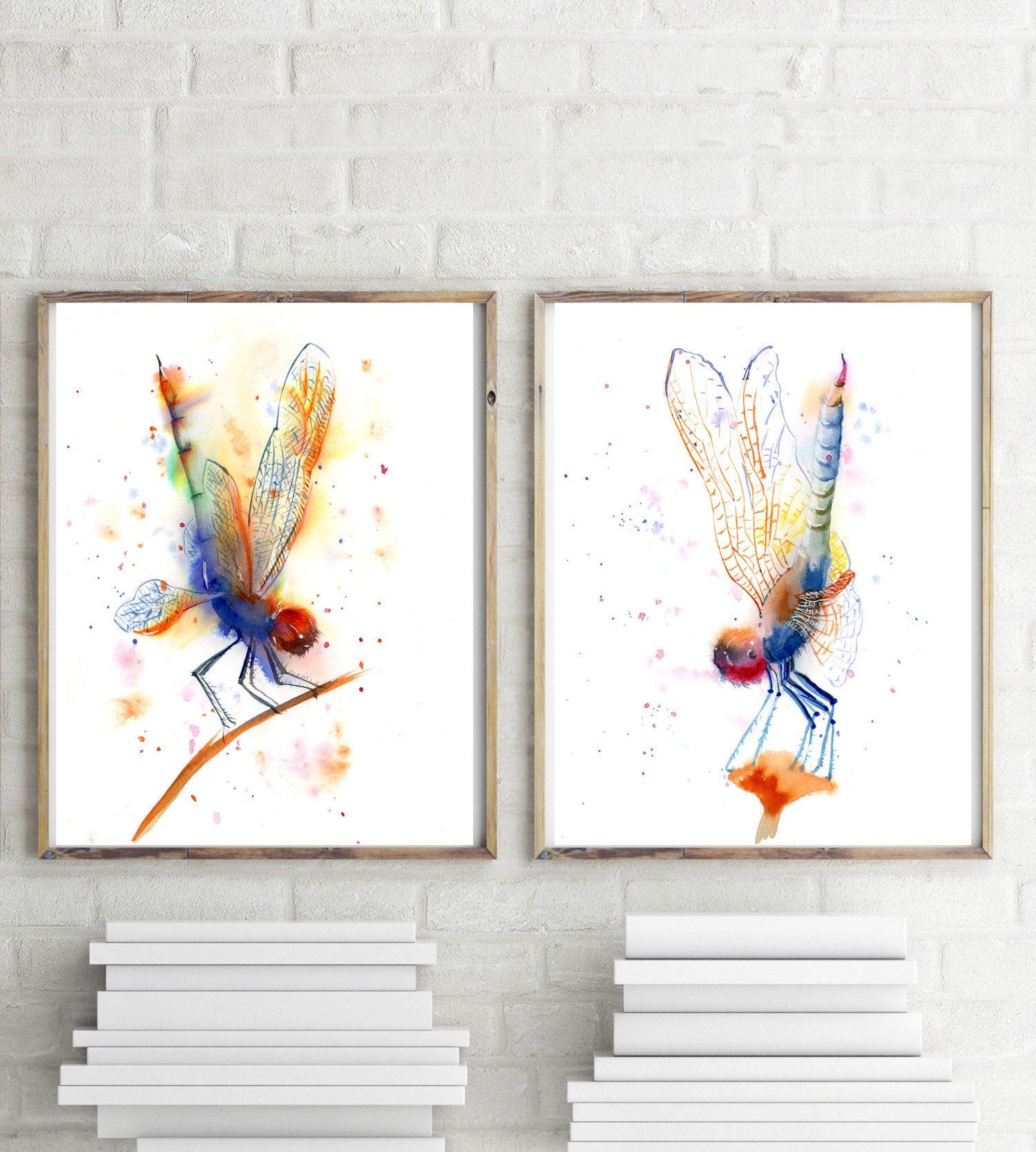 Dragonfly Wall Art Set Of 2 Prints Dragonfly Art Watercolor (View 4 of 20)