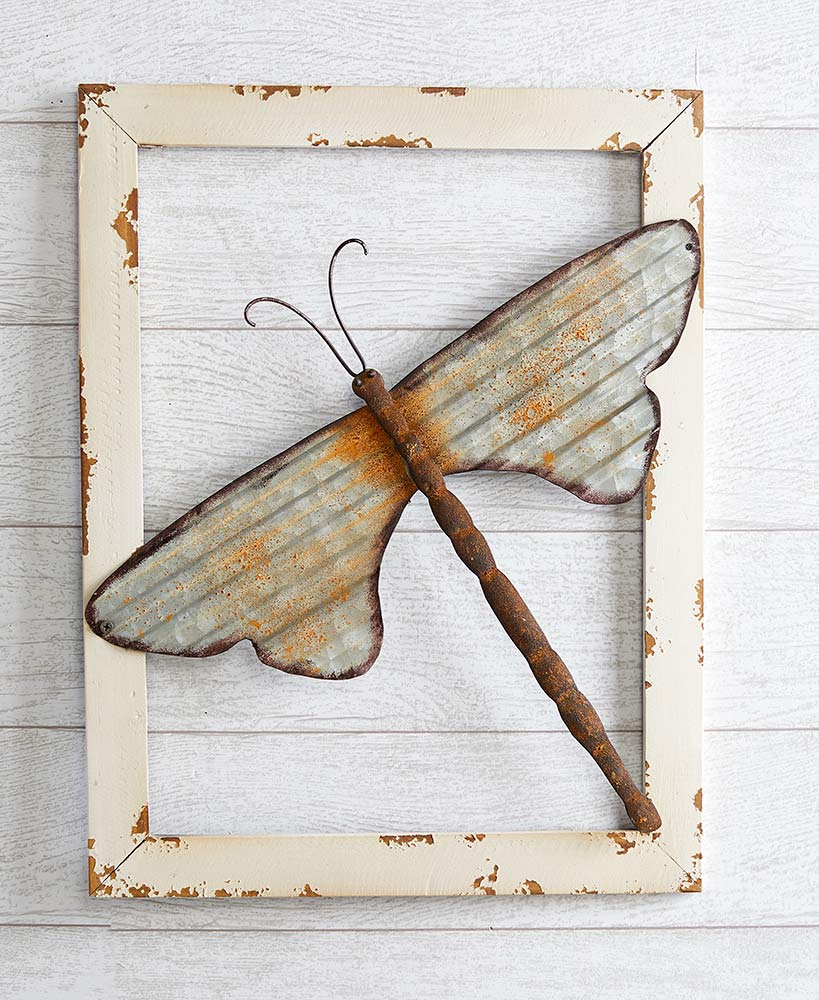 Dragonfly Wall Decor In Most Current The Lakeside Collection Wood Framed Metal Dragonfly Wall Decor – (View 6 of 20)