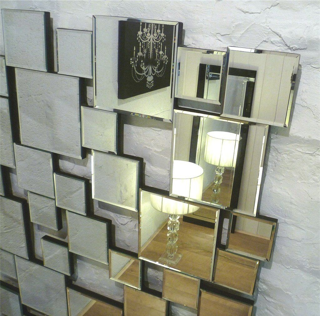 """Earthquake Silver Modern Rectangle Facet Wall Mirror 48"""" X 32"""" X Within Fashionable Pennsburg Rectangle Wall Mirror By Wade Logan (View 13 of 20)"""