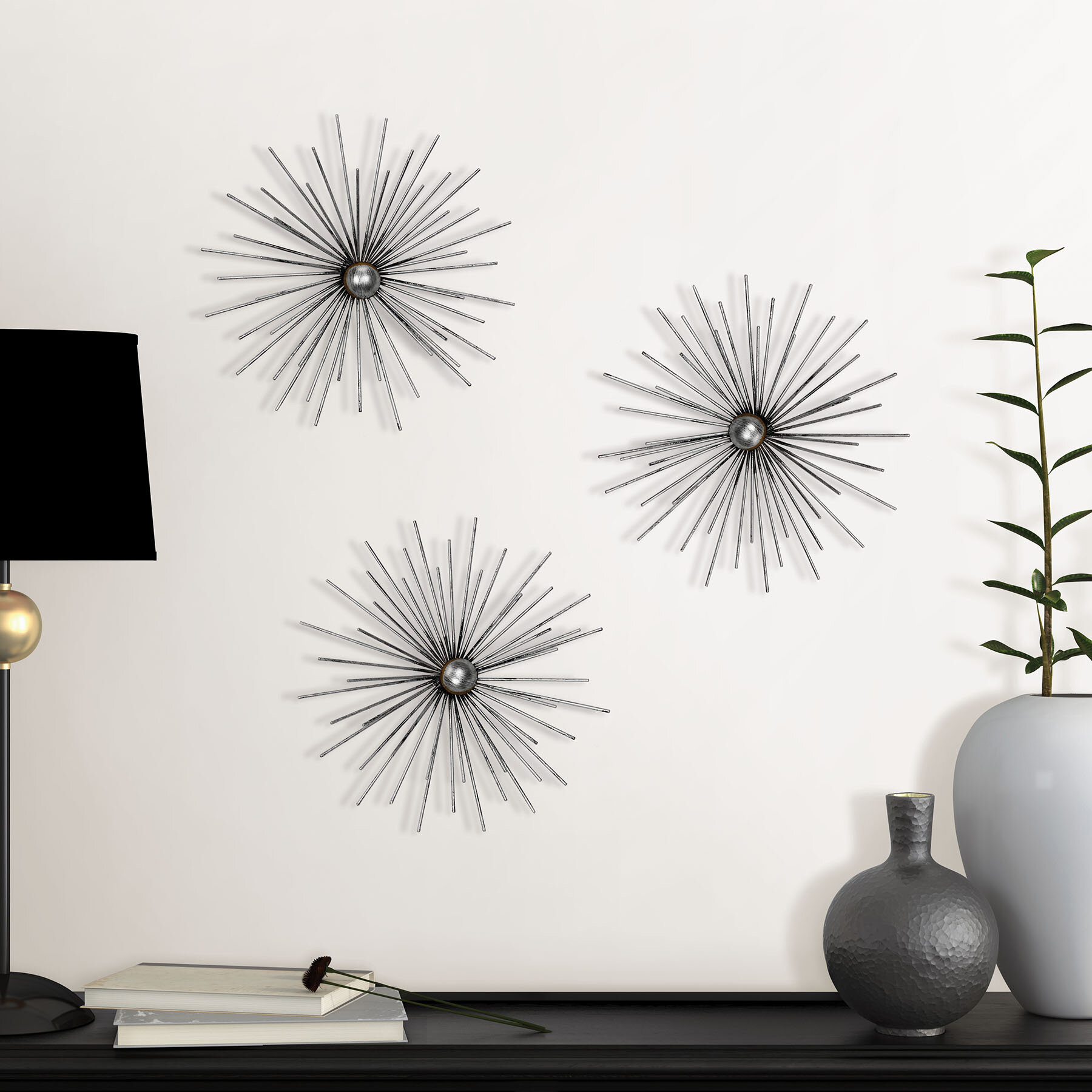 Ebern Designs Metal Starburst Wall Décor & Reviews (View 3 of 20)