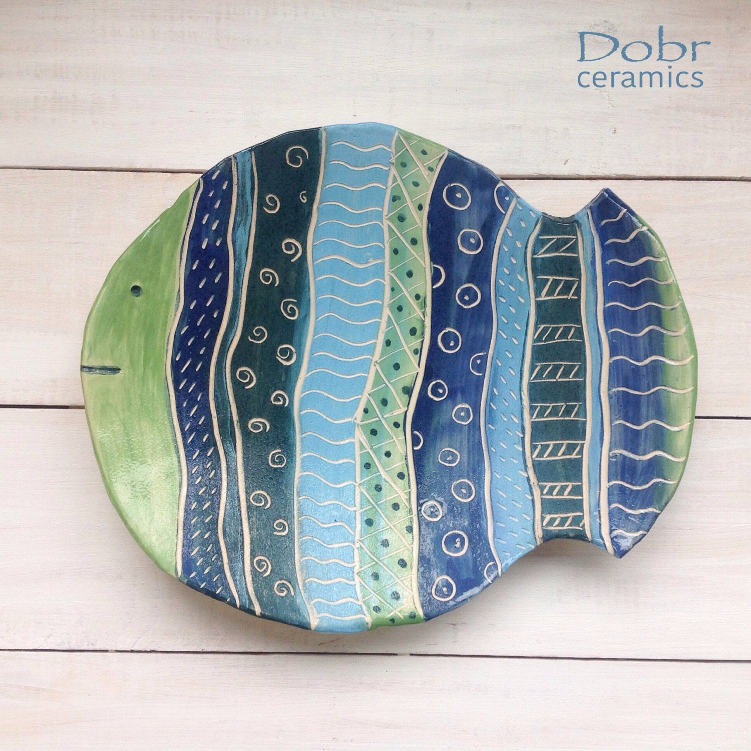 Etsy Inside Ceramic Blue Fish Plate Wall Decor (View 8 of 20)