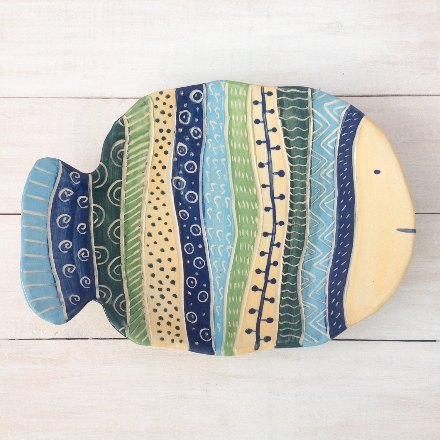 Etsy Pertaining To Well Known Ceramic Blue Fish Plate Wall Decor (View 5 of 20)
