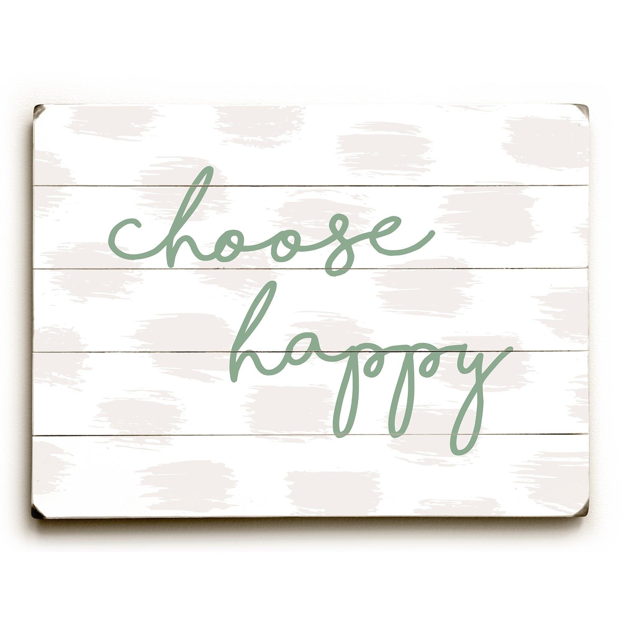 Famous Choose Happy Wood Wall Decor regarding Shop Choose Happy Green - Green Planked Wood Wall Decorobc - On