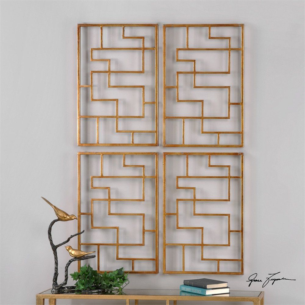 Famous Gold Geometric Wall Panels – Set Of  (View 2 of 20)