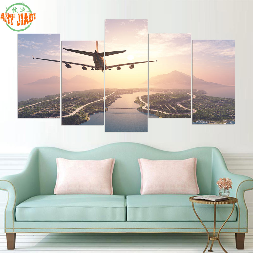 Famous New 5 Pieces/sets Canvas Art Hd Airplane Landing On Island Canvas With Landing Art Wall Decor (View 6 of 20)