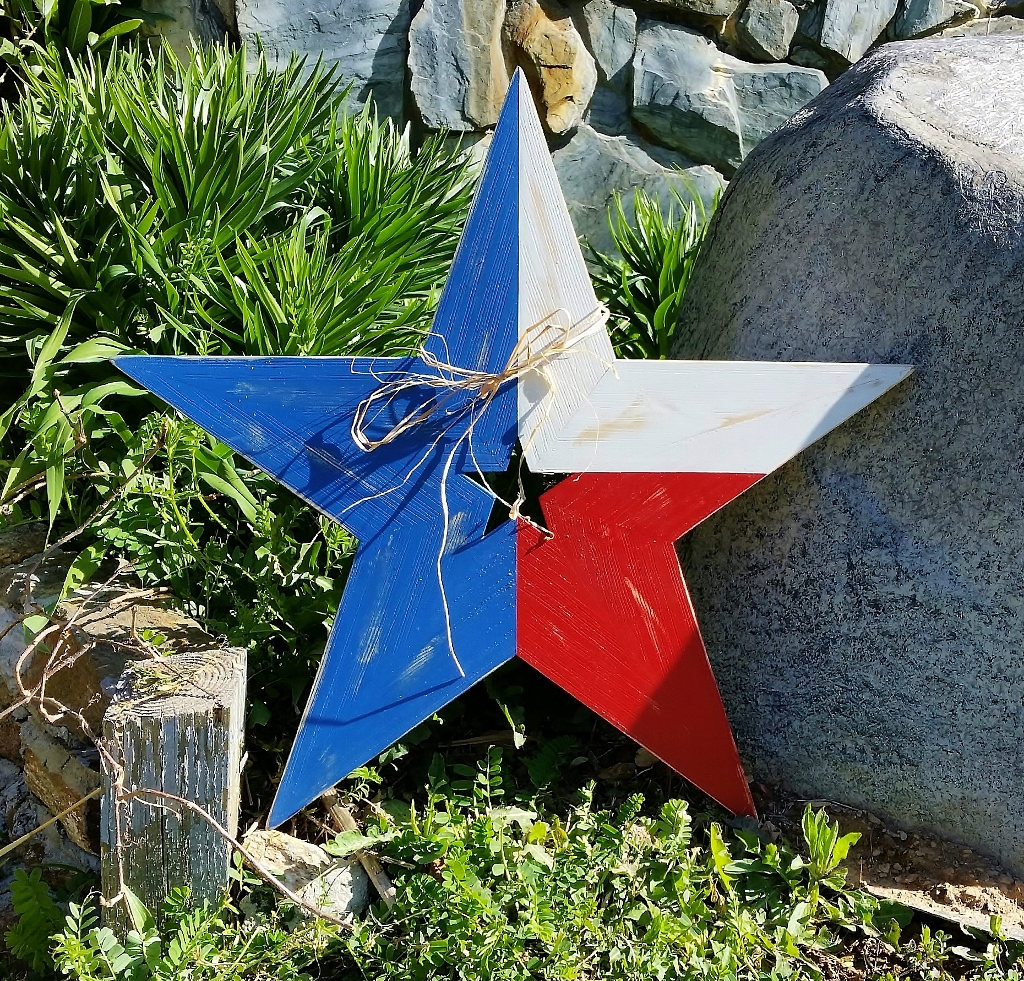 Famous Rustic Wood Star Texas Flag Red White & Blue Star Lone Star (View 4 of 20)