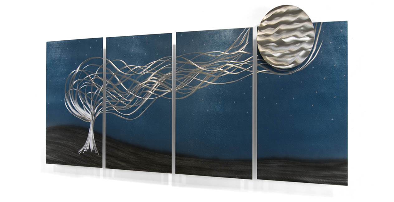 Famous Turbulant Tree Contemporary Wall Art Set Of 4 Intended For Contemporary Forest Metal Wall Decor (View 20 of 20)