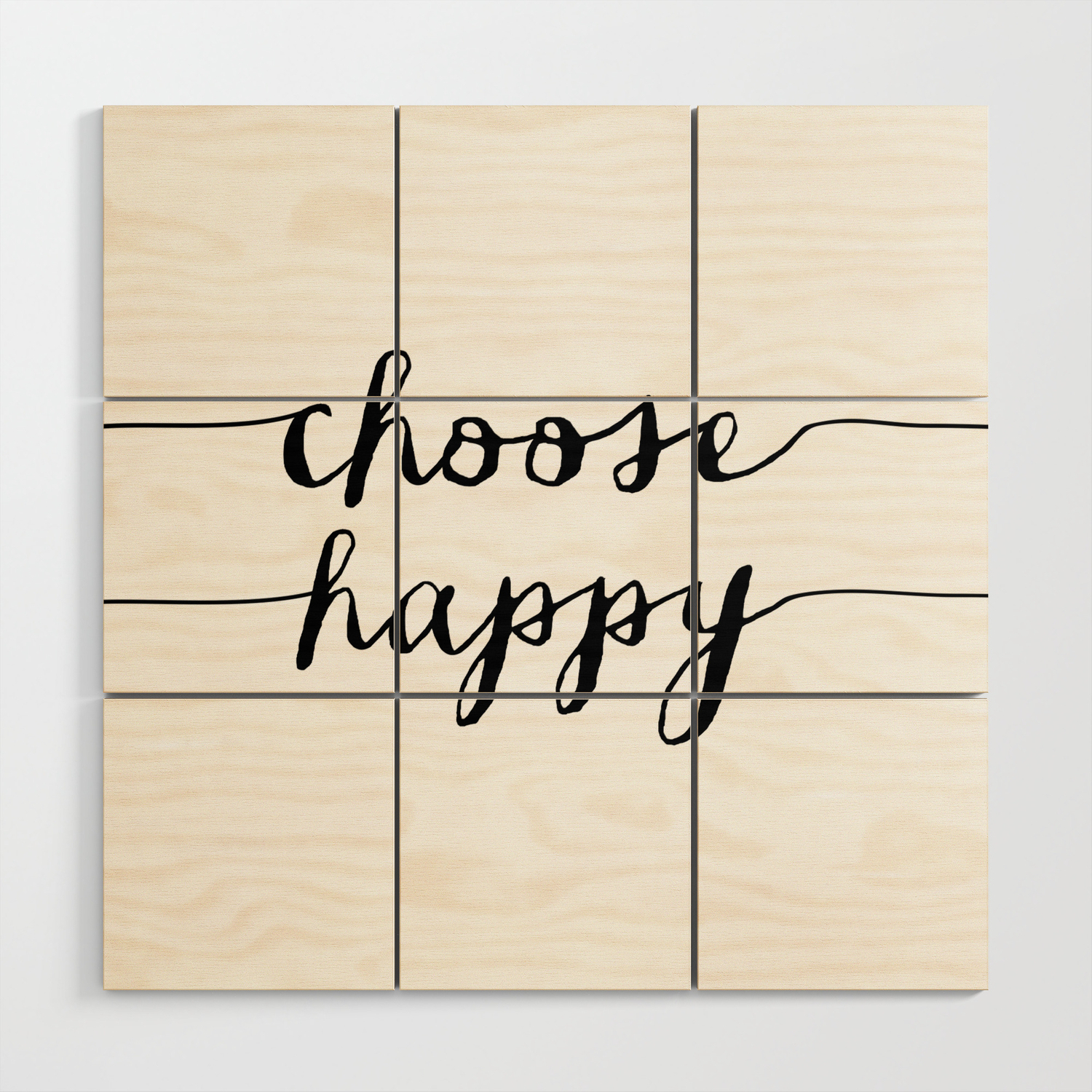 Fashionable Choose Happy Black And White Monochrome Typography Poster Design Throughout Choose Happy Wood Wall Decor (View 10 of 20)