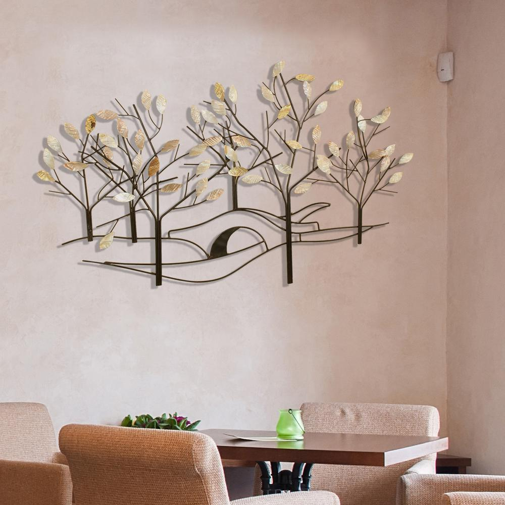 Fashionable Contemporary Iron Leaves Wall Decor By Winston Porter with Oil-Rubbed Bronze Tree-Lined Street Metal Work Wall Decor