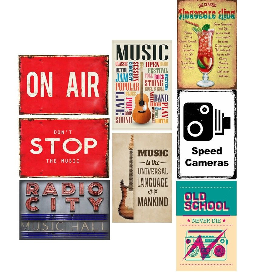 Fashionable Metal Universal Wall Decor Pertaining To Retro Metal Tin Signs Music On Air Plate Radio City Music Hall Art (View 9 of 20)