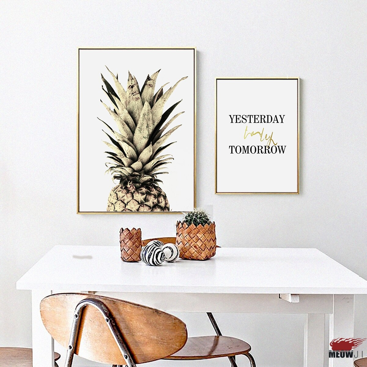 Fashionable Posters Wall Art Printed Canvas Painting For Living Room Nordic Pertaining To Pineapple Wall Decor (View 19 of 20)
