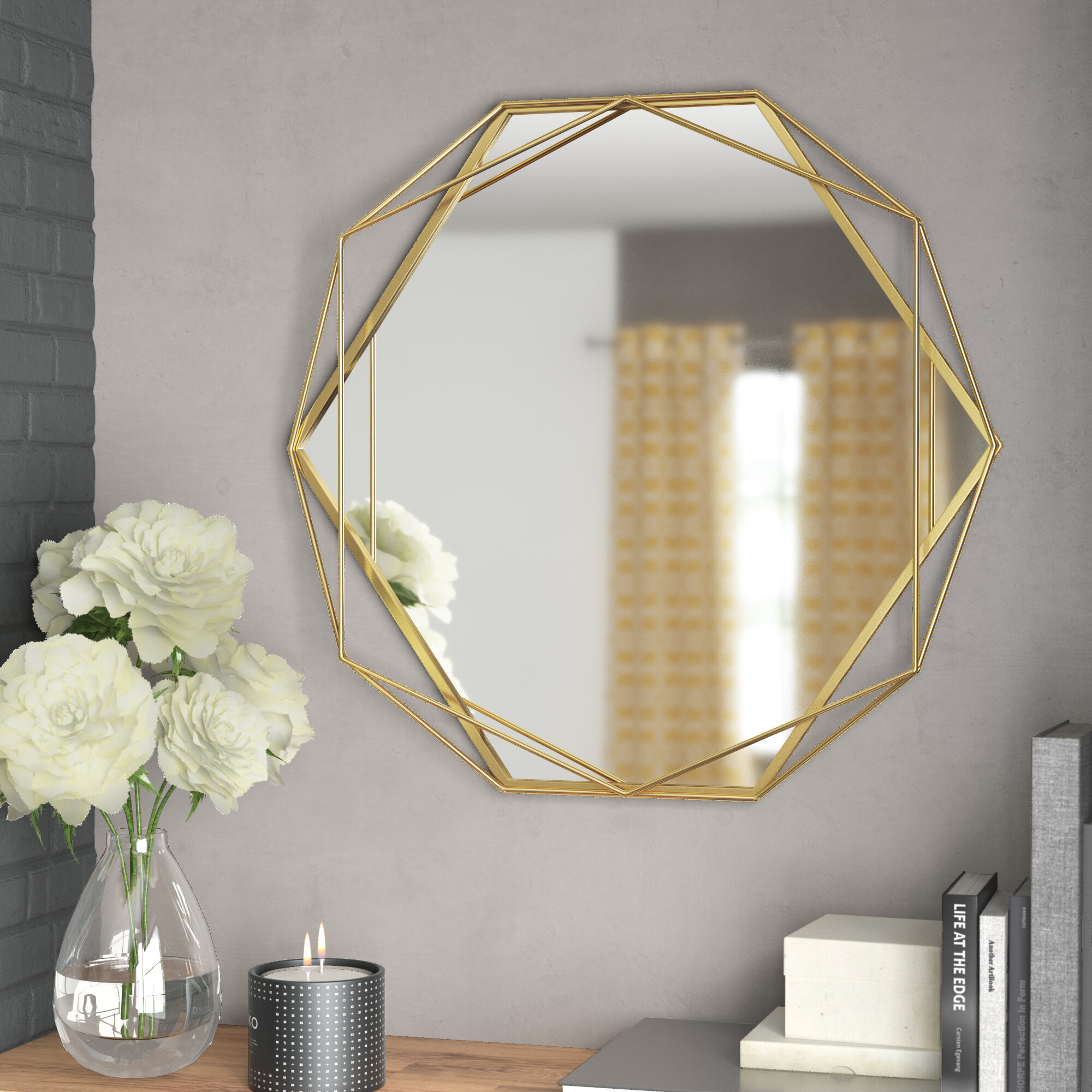 Fashionable Rings Wall Decor By Wrought Studio Throughout Wrought Studio Pippin Metal Frame Wall Mirror & Reviews (View 7 of 20)