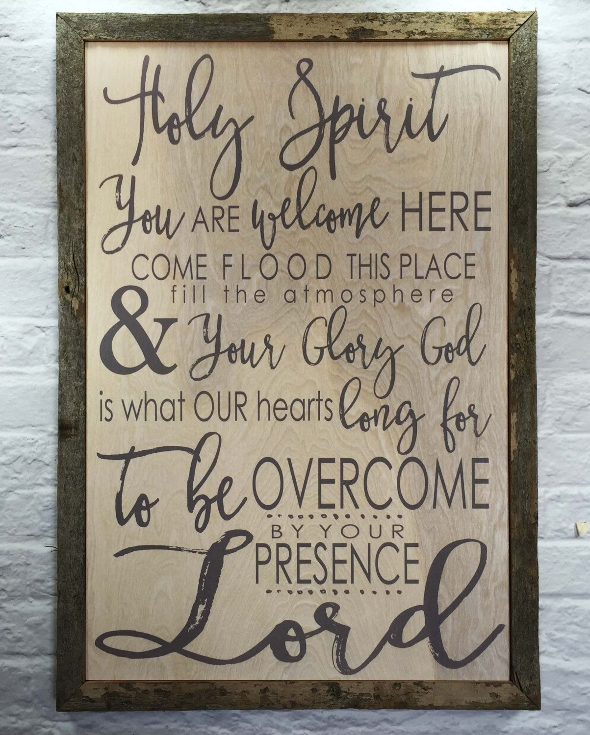 Favorite Faith, Hope, Love Raised Sign Wall Decor By Winston Porter For Holy Spirit You Are Welcome Here – Rustic Barn Wood Frame Wall Art (View 15 of 20)