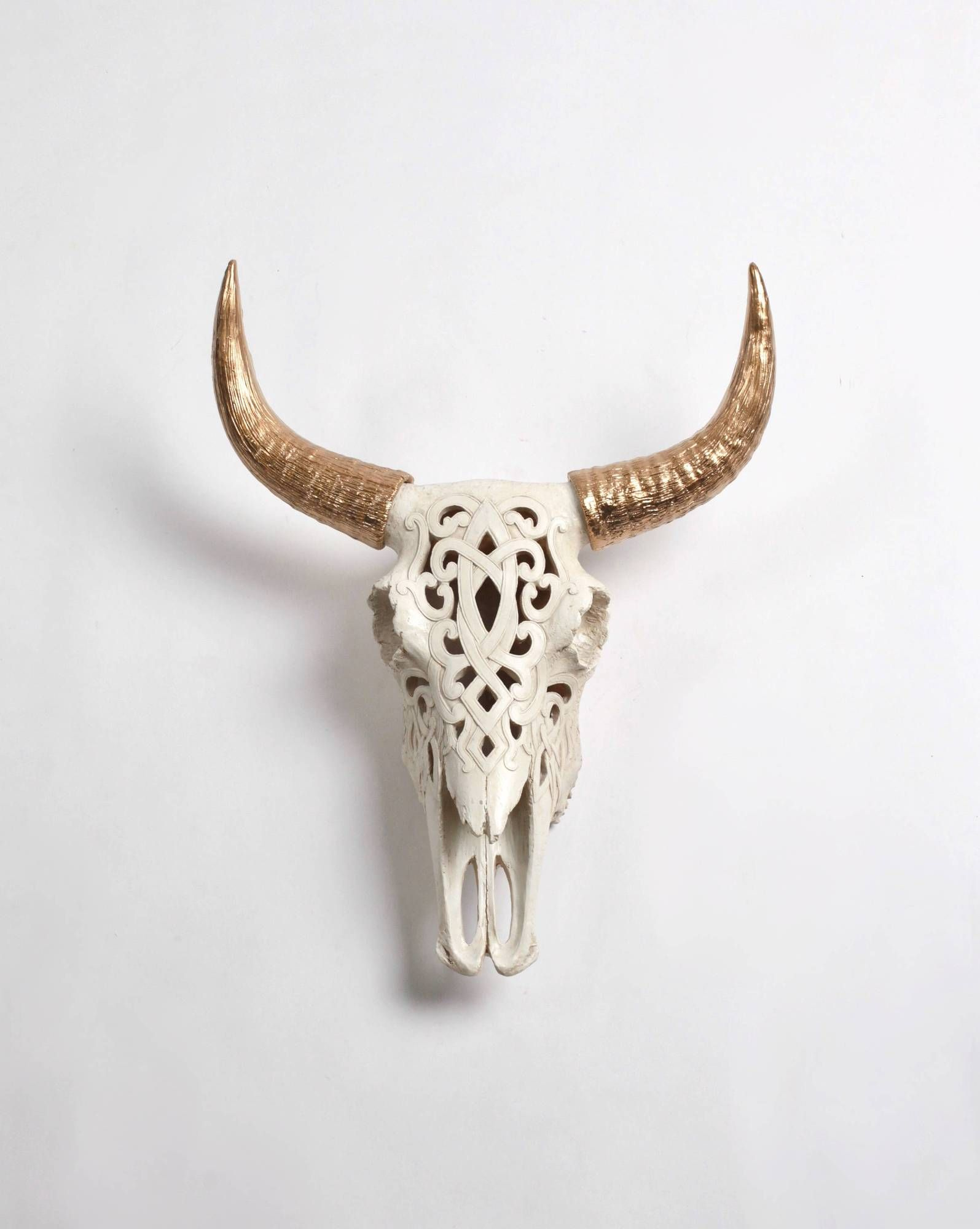 Favorite Highlands Ranch The Templeton Wall Decor With Regard To Filigree Faux Bison Skull, Natural Color With Gold Horns In  (View 4 of 20)