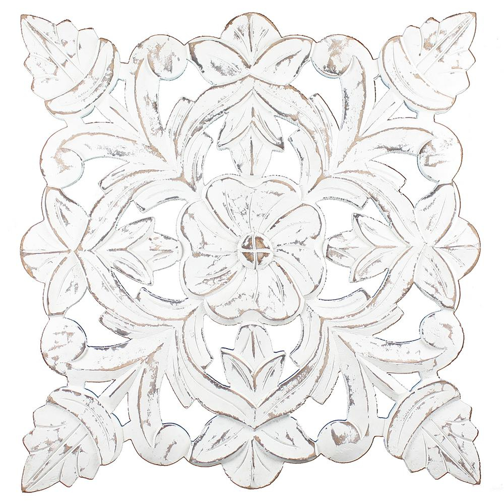 Fetco Toan White Carved Wood Medallion Wall Art X401366 - The Home Depot regarding 2019 Shabby Medallion Wall Decor