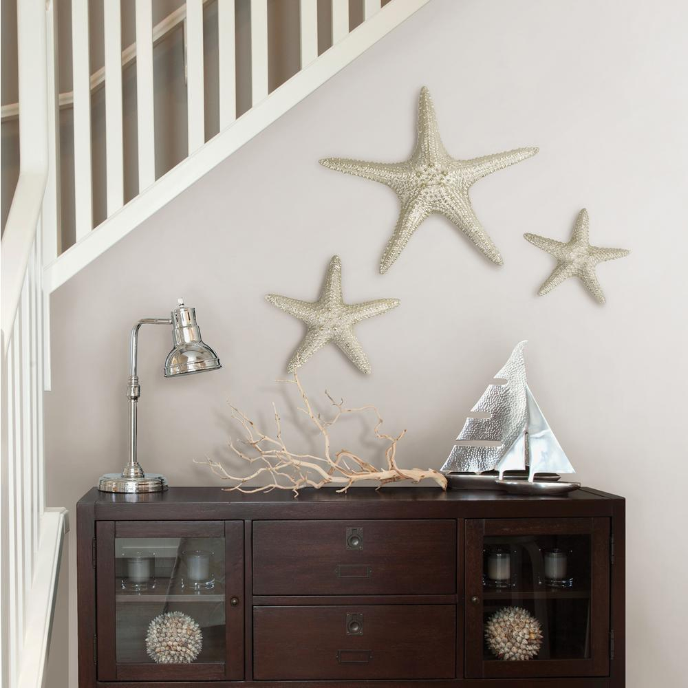 Fetco Yelton Platinum Starfish Set X67600b – The Home Depot Within Most Up To Date Yelton 3 Piece Starfish Wall Decor Sets (View 14 of 20)