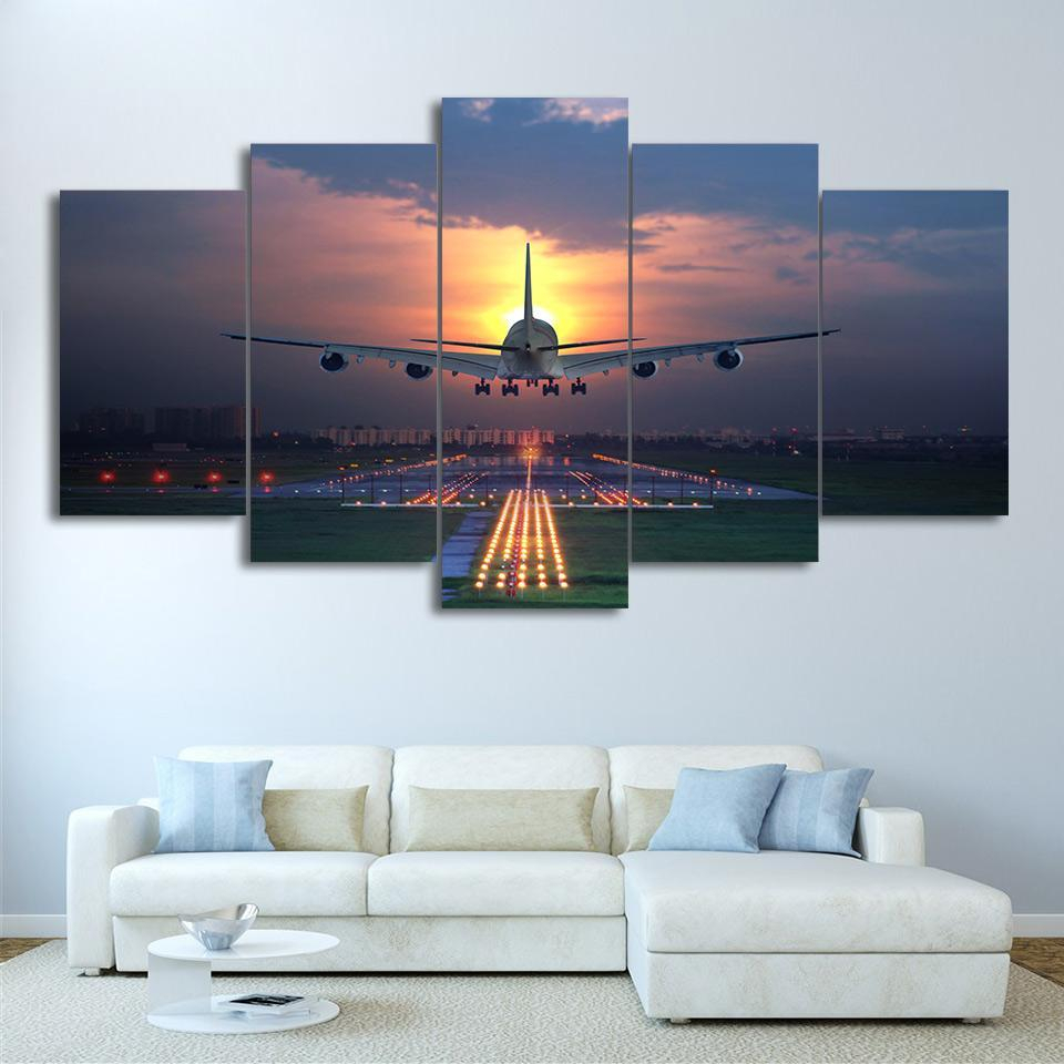 Flight Plane Landing In Sunset 5 Piece Canvas Art Print Picture Wall within Most Popular Landing Art Wall Decor