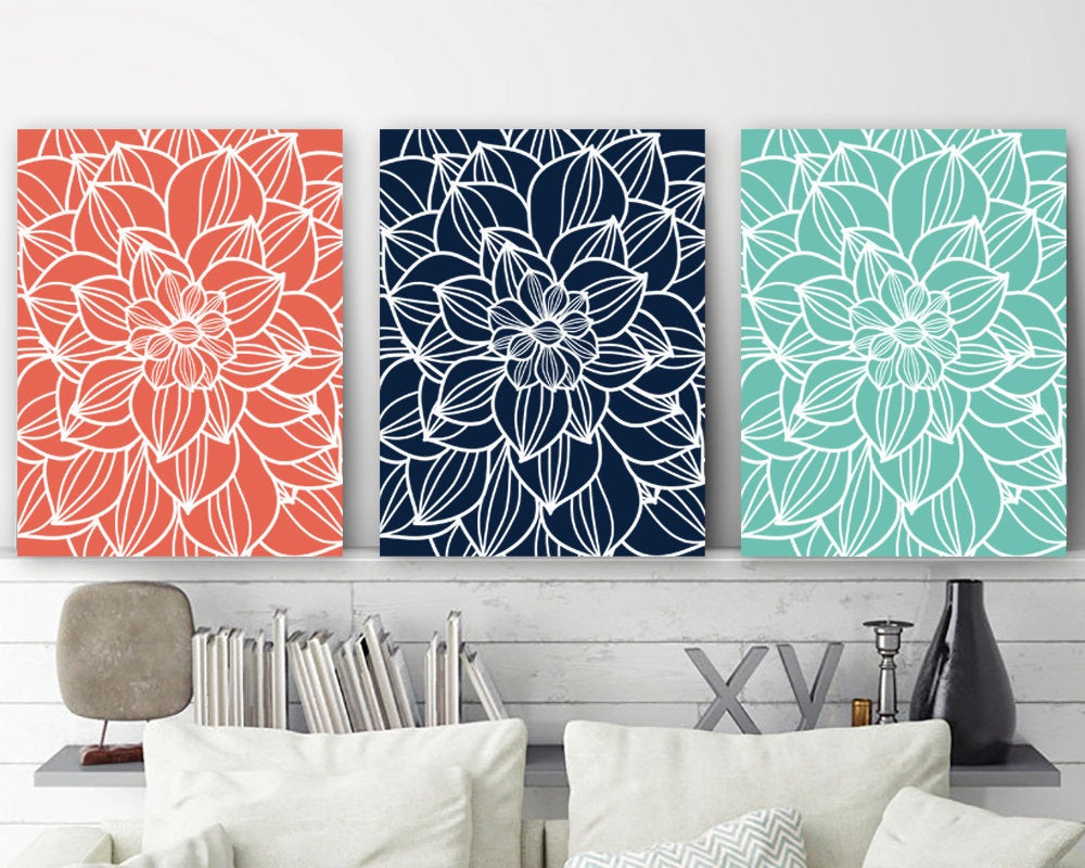 Flower Outline Wall Art Canvas Or Prints Flower Bedroom (View 7 of 20)