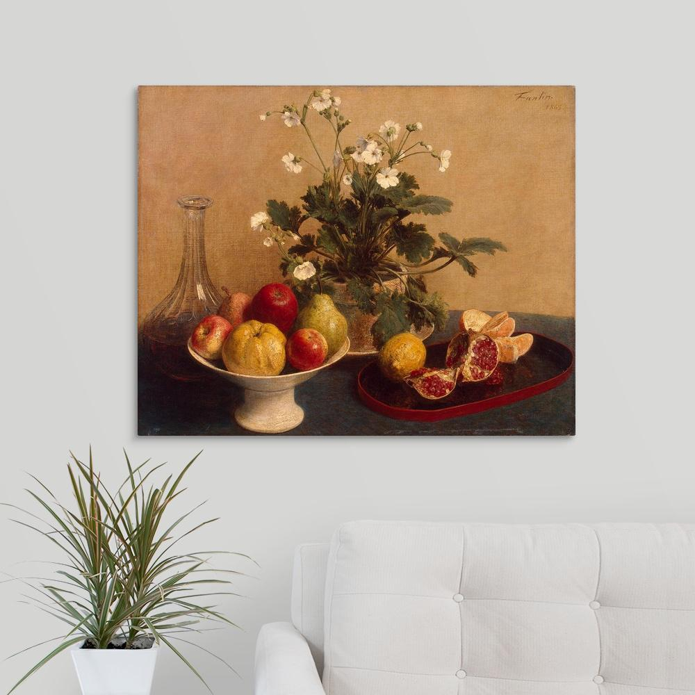 """Greatbigcanvas """"flowers, Dish With Fruit And Carafe, 1865""""ignace Pertaining To Fashionable Latour Wall Decor (View 7 of 20)"""