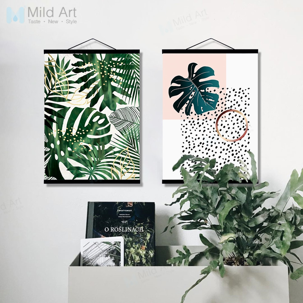 Green Plants Monstera Leaf Wooden Framed Poster Print Scandinavian In Favorite Scroll Leaf Wall Decor (Gallery 16 of 20)