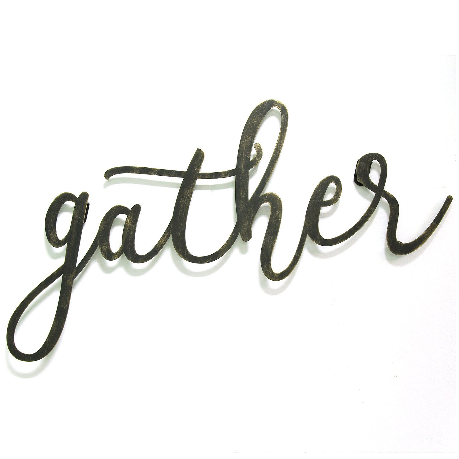 """Grey """"eat"""" Sign With Rebar Decor Pertaining To Current Gather Script Wall Décor & Reviews (View 3 of 20)"""